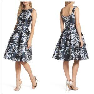 Eliza J Metallic Floral Belted Fit&Flare Dress 10P
